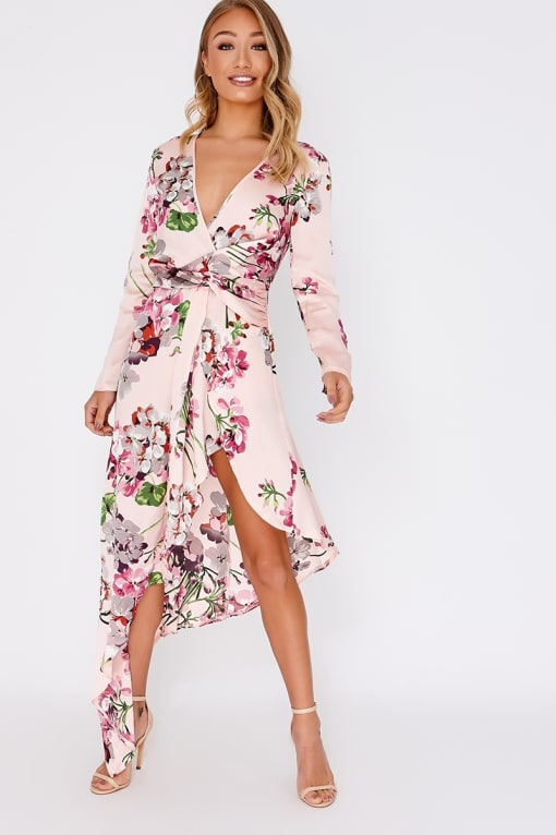 AURIAH PINK FLORAL SATIN ASYMMETRIC HEM MIDI DRESS