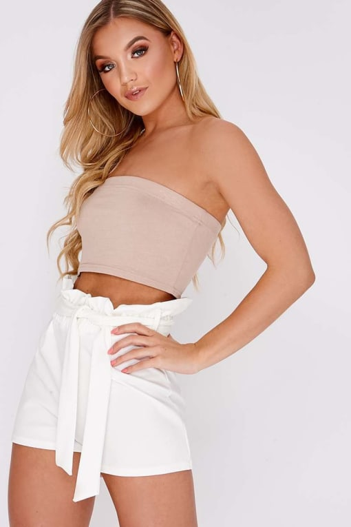 LANDRIE WHITE HIGH WAISTED PAPERBAG SHORTS