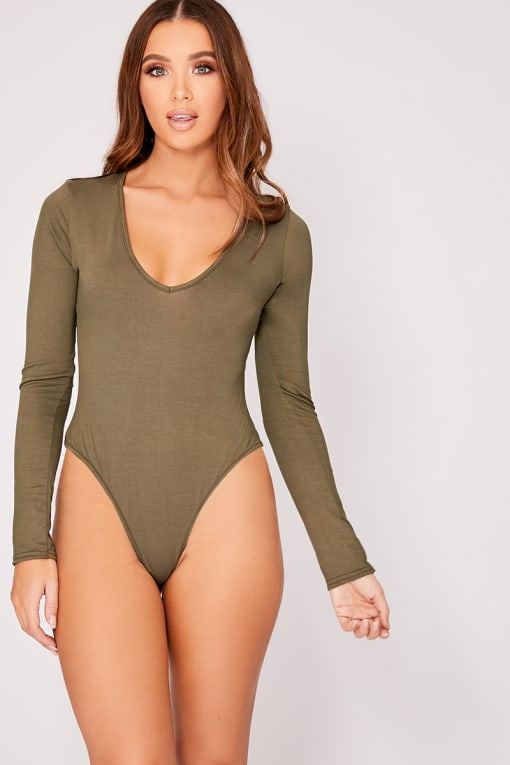 BASIC KHAKI LONG SLEEVE BODYSUIT