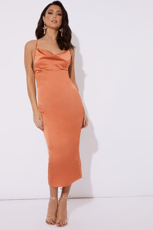 GEMMA ORANGE SATIN COWL LACE UP BACK MIDI DRESS