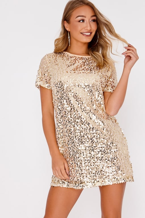 MADELINE GOLD SEQUIN T SHIRT DRESS