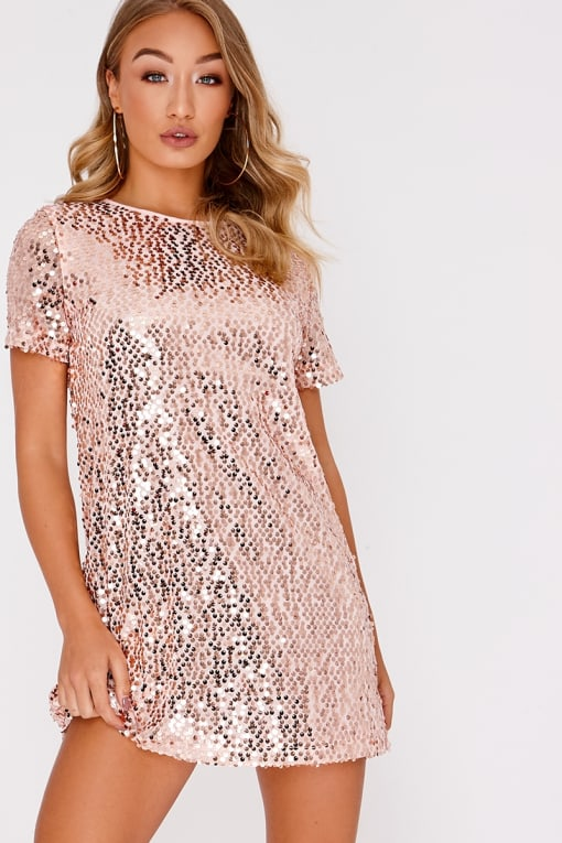 5962d81a77 Catti Pink Iridescent Sequin Plunge Mini Dress