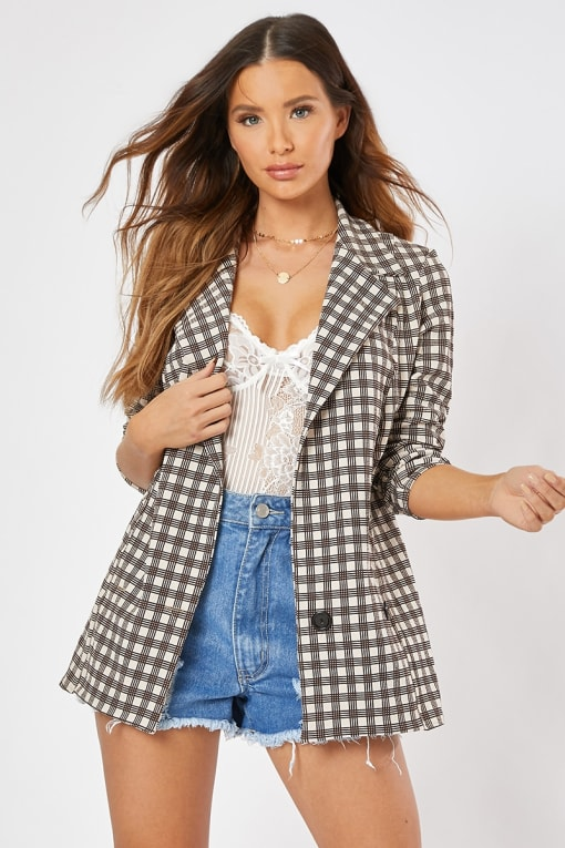 AUDRI BROWN CHECK BOYFRIEND BLAZER