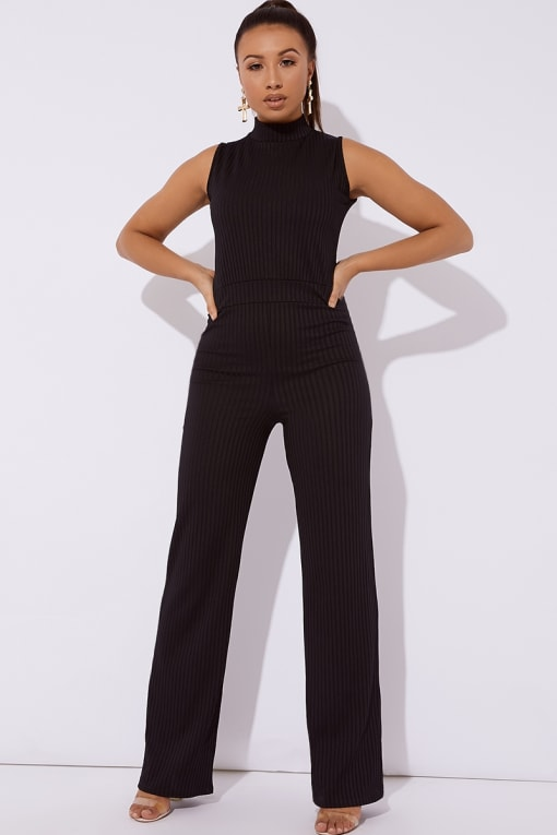 ALULU BLACK RIBBED HIGH NECK WIDE LEG JUMPSUIT