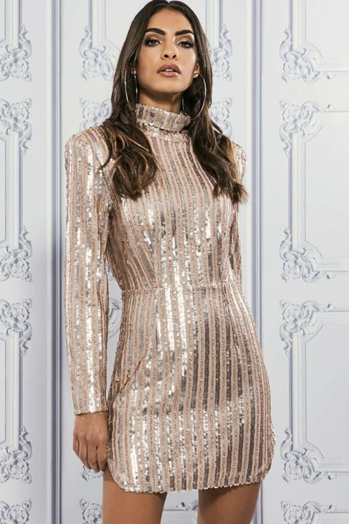 PREMIUM ROSE ROLL NECK LINEAR SEQUIN BODYCON DRESS