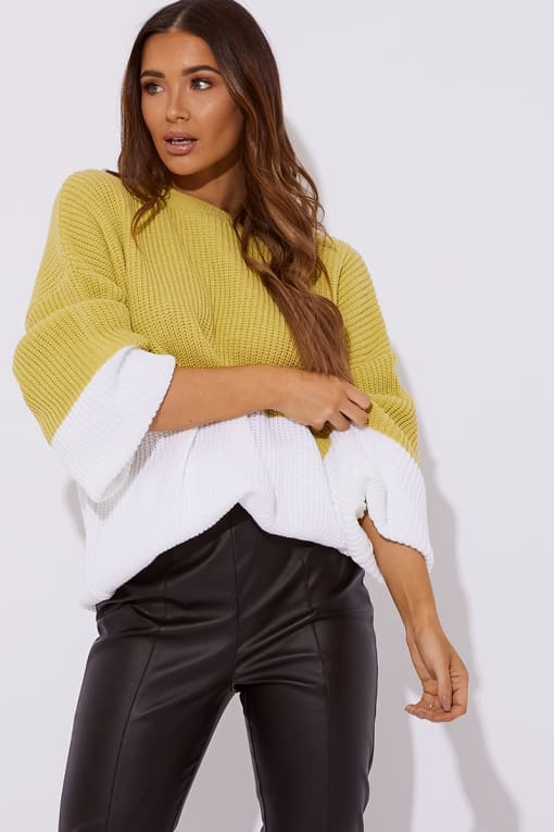 SARAH ASHCROFT LIME COLOUR BLOCK OVERSIZED KNITTED JUMPER