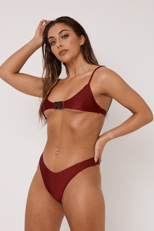 LINDSAY OX BLOOD SUPER HIGH LEG MICRO BIKINI BOTTOMS