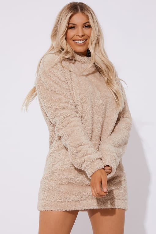 ELLEN STONE BORG CREW NECK HOODED SWEAT DRESS