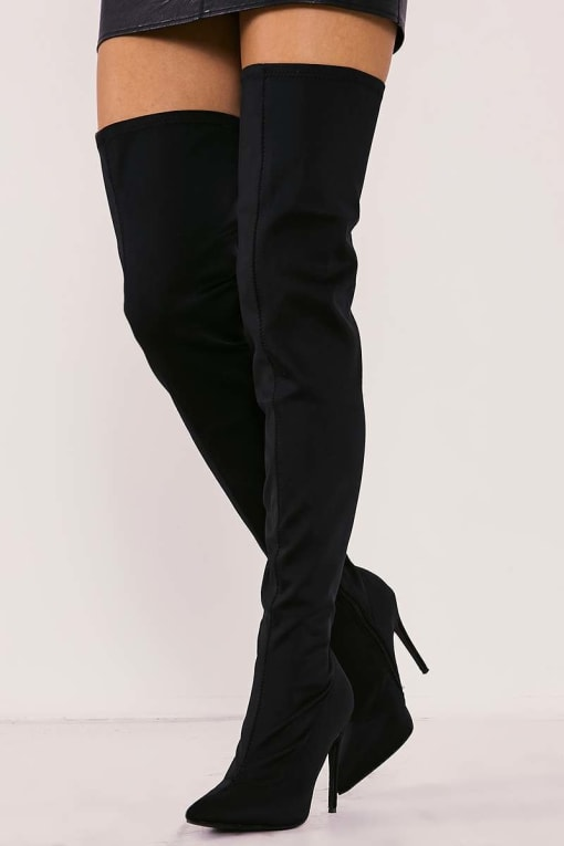 RABIA BLACK LYCRA SOCK OVER THE KNEE HEELED BOOTS