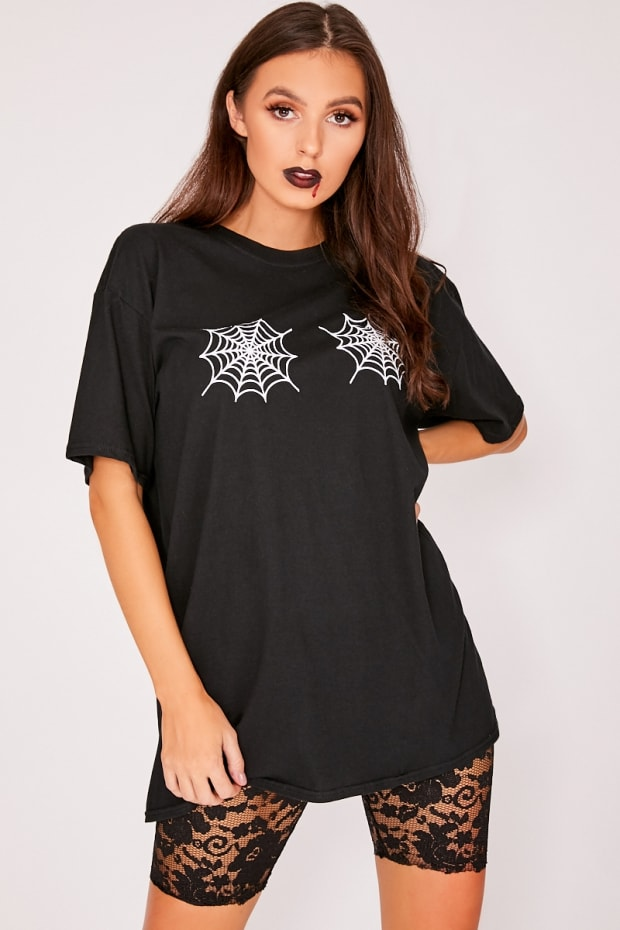 HALLOWEEN BLACK SPIDER WEB OVERSIZED T SHIRT DRESS