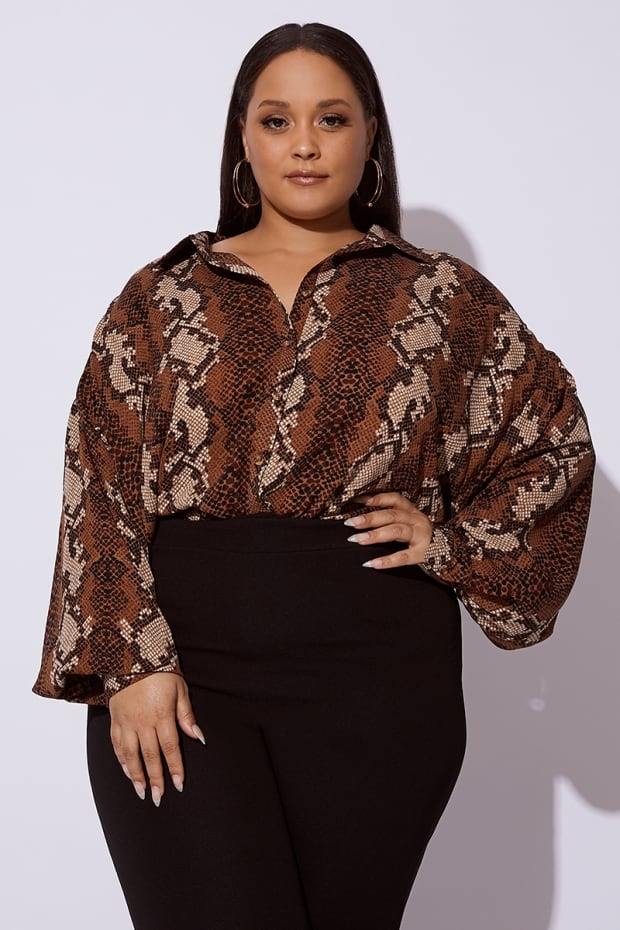 CURVE DANI DYER BROWN SNAKE PRINT OVERSIZED SHIRT