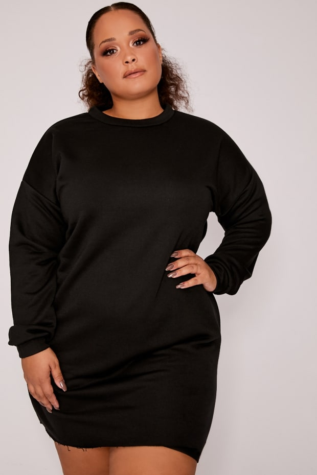 CURVE LOUNA BLACK OVERSIZED SWEATER DRESS