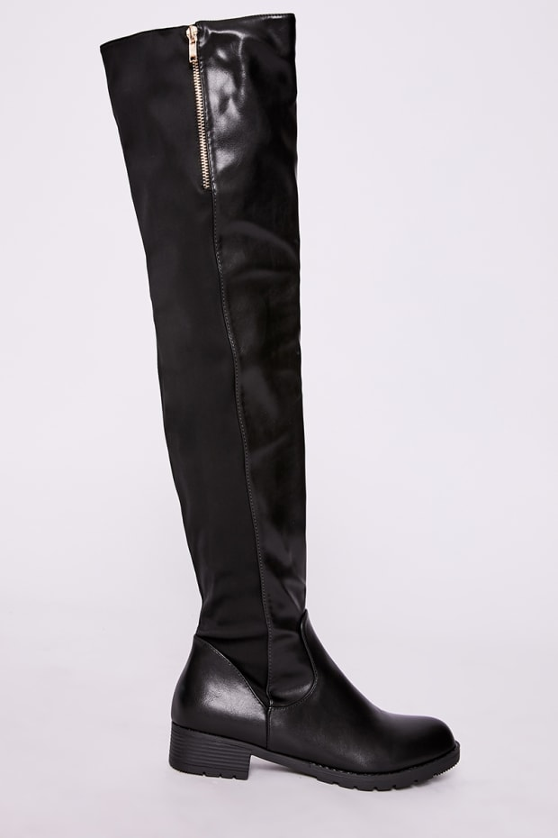 505d12a36c5 Lita Black Faux Leather Zip Detail Over The Knee Boots
