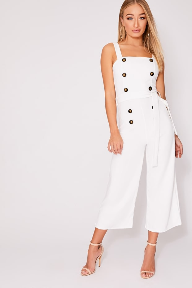 5e98c6af8d4 Breanna White Horn Button Culotte Jumpsuit