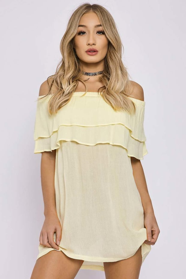 CHARLOTTE CROSBY YELLOW DOUBLE LAYER BARDOT DRESS