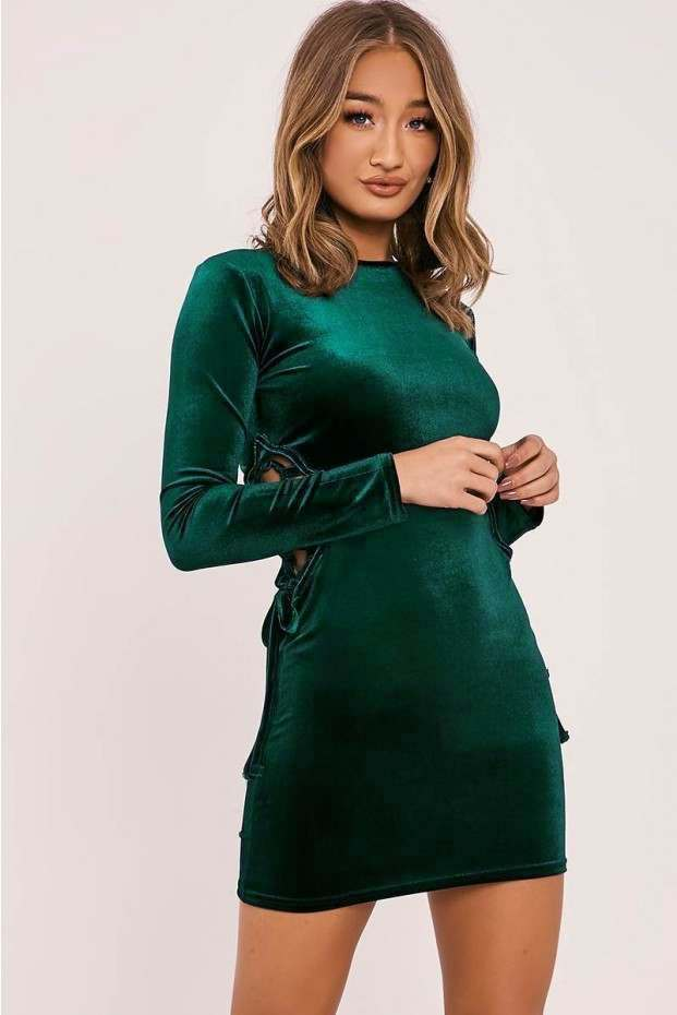 FLOR GREEN VELVET LACE UP MINI DRESS