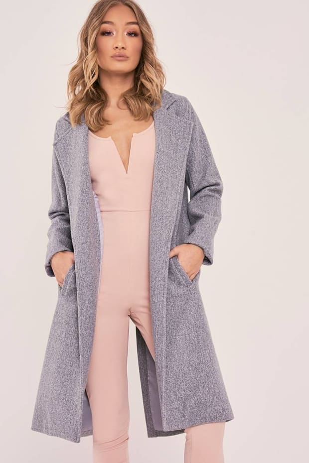 SARAH ASHCROFT GREY LONGLINE DUSTER COAT