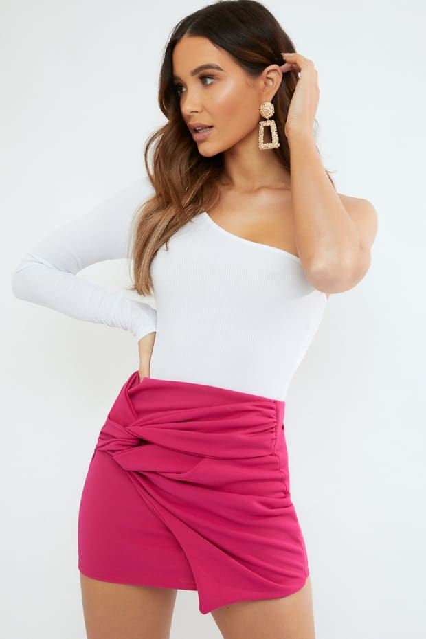 LURLINE PINK CREPE TWIST FRONT MINI SKIRT