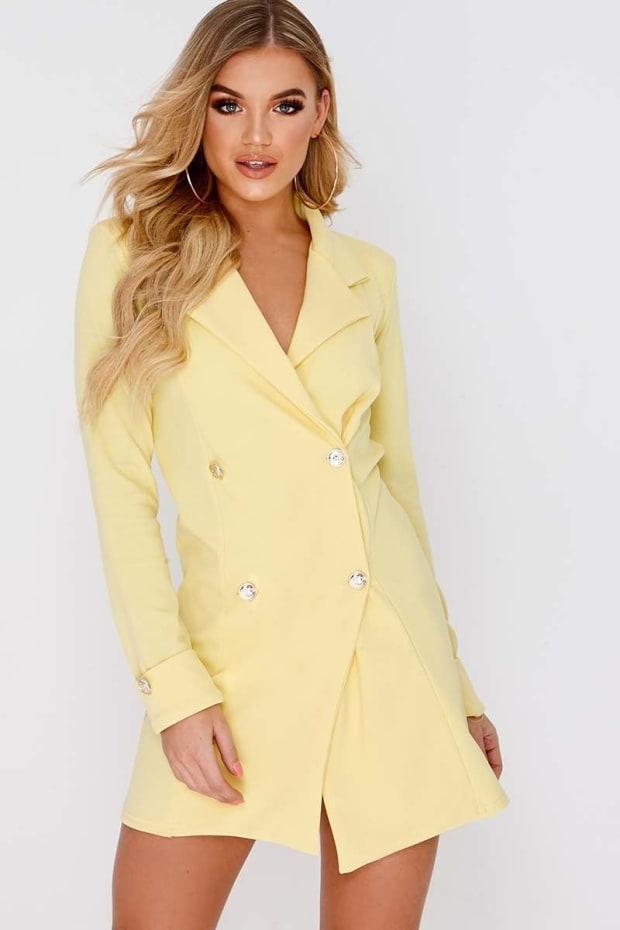 CARLEIGH YELLOW GOLD BUTTON BLAZER DRESS