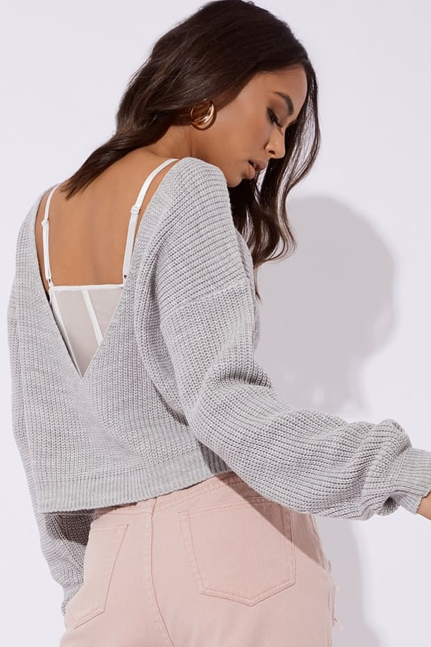 DARCIE GREY V PLUNGE BACK KNITTED JUMPER