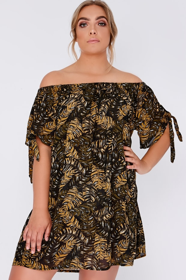 CURVE HANA KHAKI PALM PRINT BARDOT DRESS