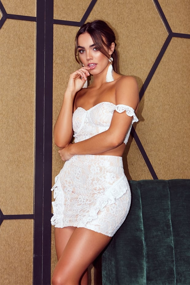 LILA WHITE LACE FRILL MINI SKIRT