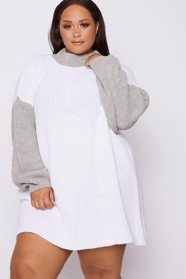CURVE DANI DYER GREY AND WHITE COLOUR BLOCK JUMPER DRESS