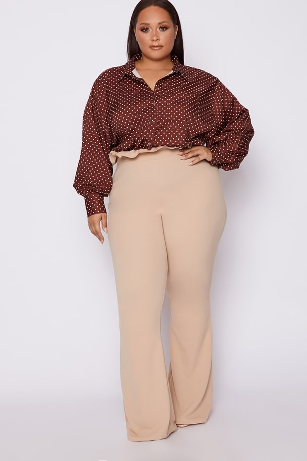 CURVE DANI DYER STONE HIGH WAISTED PAPERBAG TROUSERS
