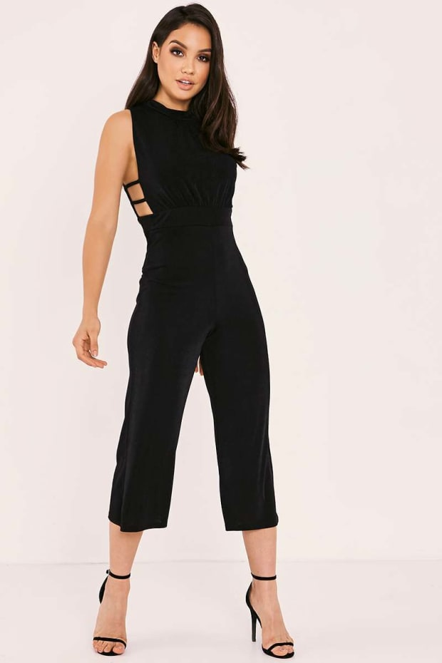 RILLA BLACK SLINKY HIGH NECK CULOTTE JUMPSUIT