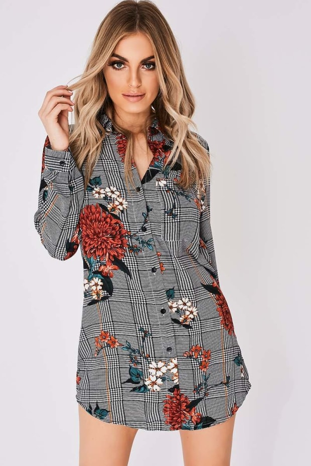 CALEY FLORAL CHECKED SHIRT DRESS