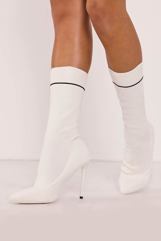 RASHIKA WHITE KNITTED STRIPE POINTED ANKLE BOOTS