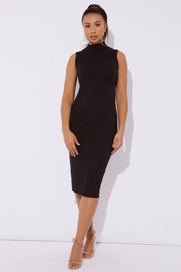 5946e04caa88 Adorie Black High Neck Ribbed Midi Dress