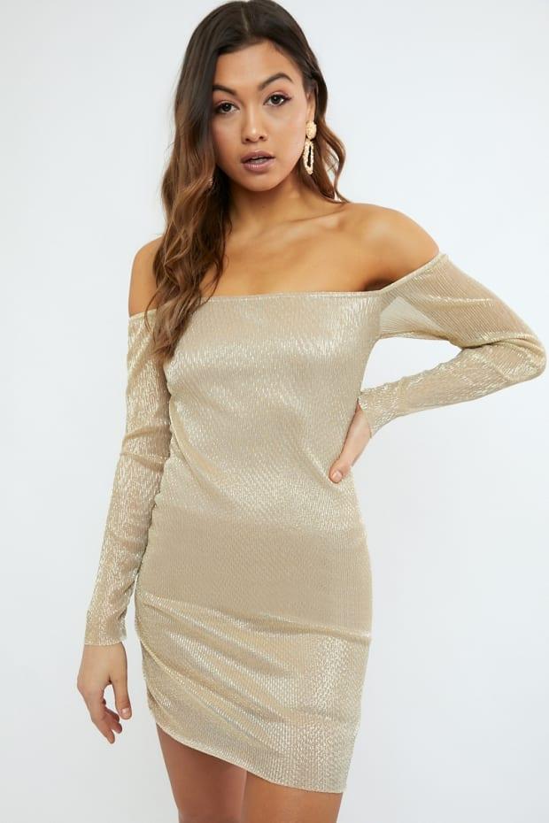 ACER GOLD METALLIC SHEER BARDOT DRESS