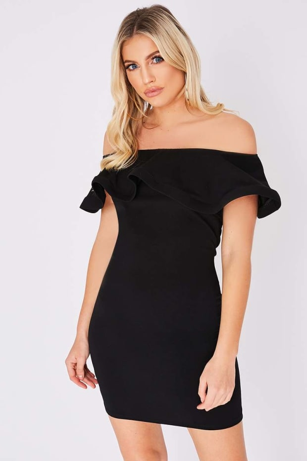 EDREAH BLACK BARDOT FRILL DRESS