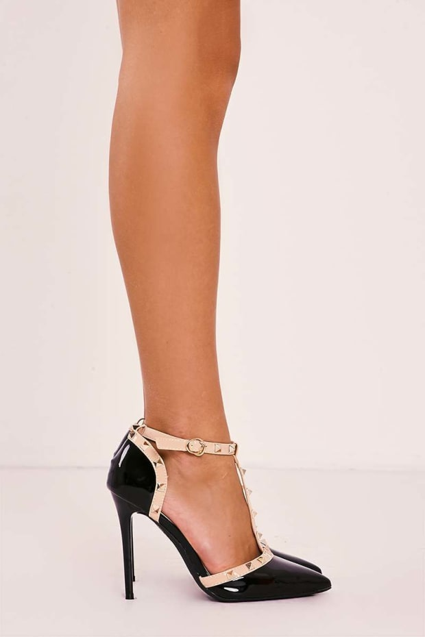 8581589a198 VALLA BLACK STUDDED STRAPPY POINTED COURT HEELS. Previous