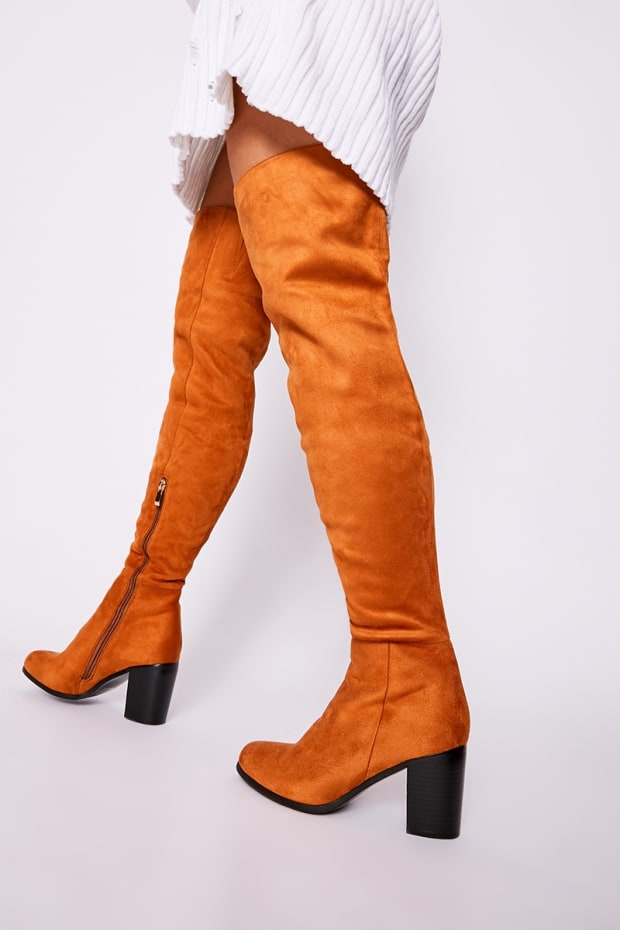 30ed3c1b984 Penia Tan Faux Suede Mid Heel Over The Knee Boots