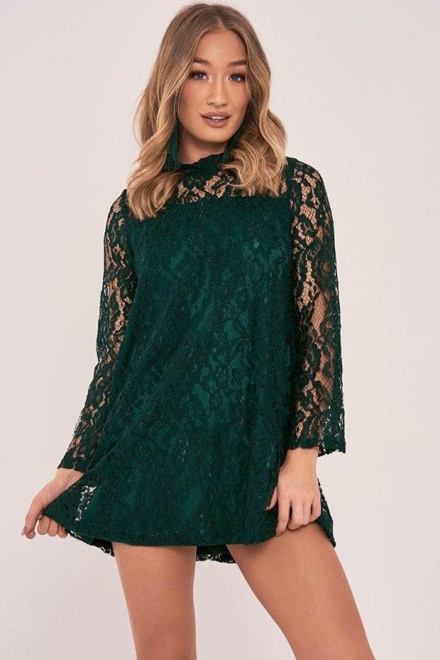 ARISSA GREEN FLORAL LACE MINI DRESS