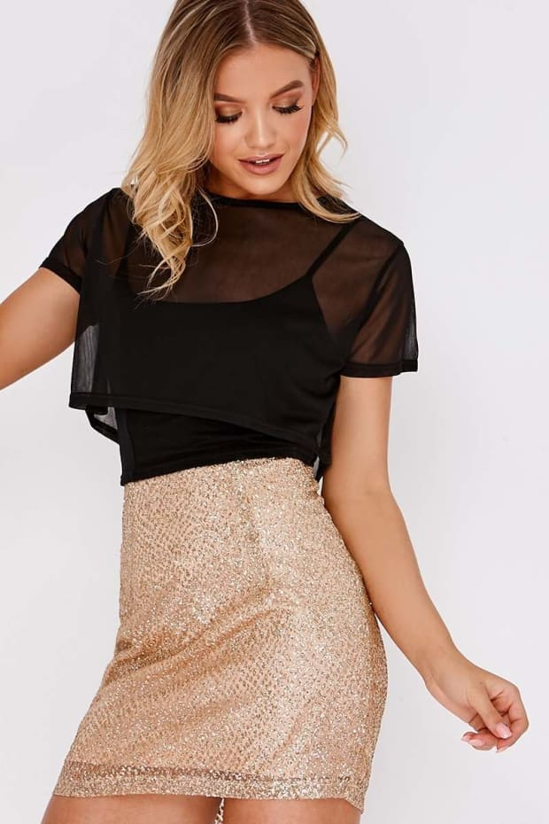 LEYNA GOLD GLITTER MINI SKIRT