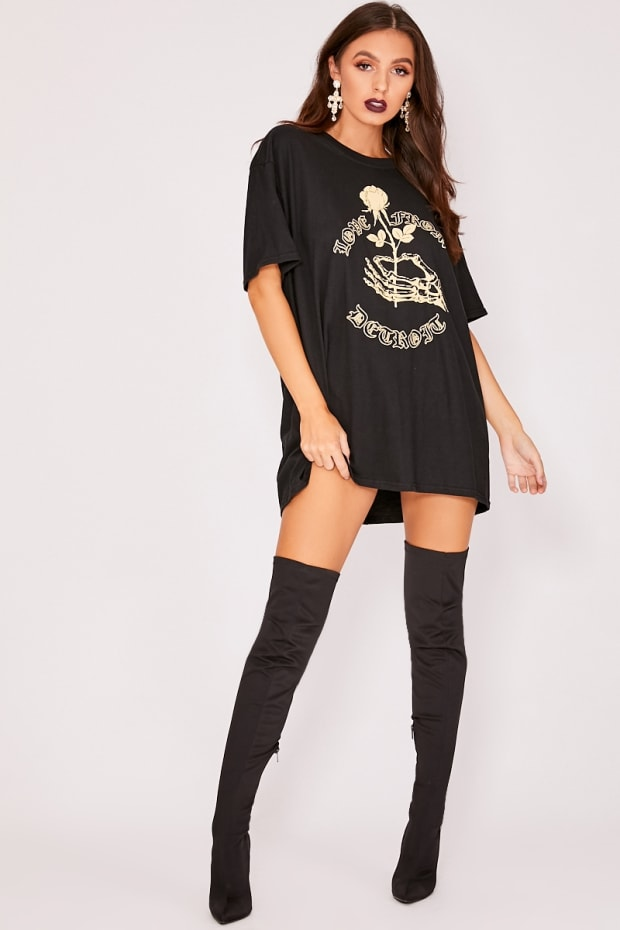 LOVE FROM DETROIT BLACK OVERSIZED T SHIRT DRESS