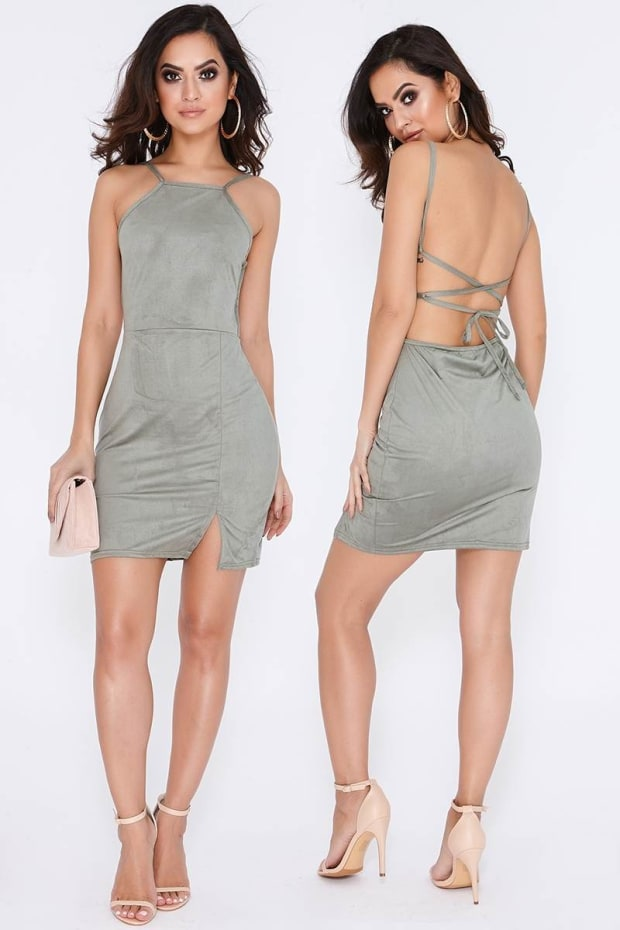 EZMAE KHAKI FAUX SUEDE THIGH SPLIT BODYCON DRESS
