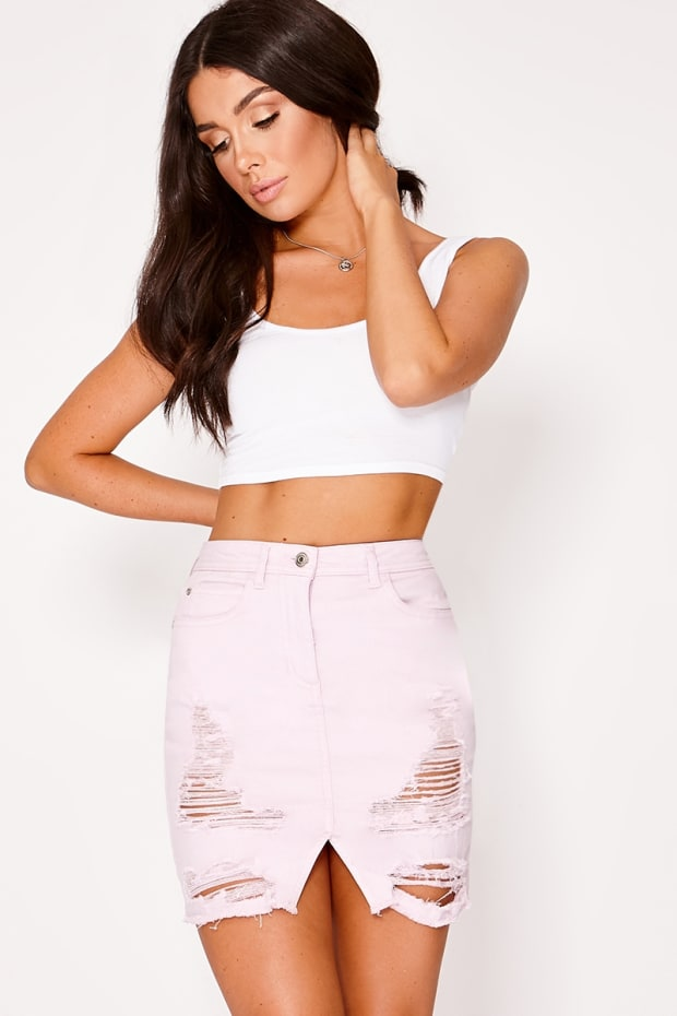 JAMILEE LILAC DISTRESSED FRAYED HEM DENIM MINI SKIRT