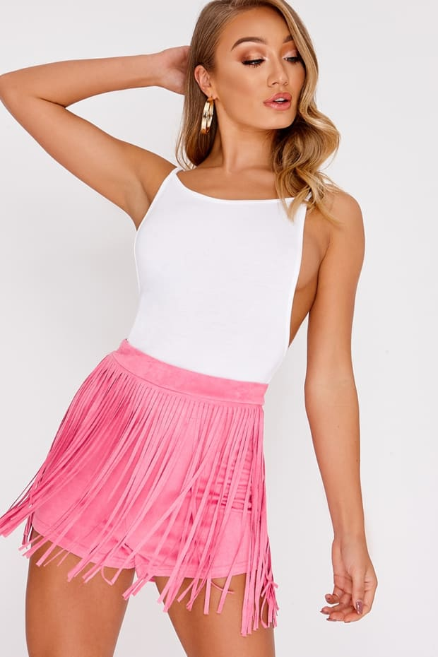 LILLIANNA PINK FAUX SUEDE TASSEL SHORTS