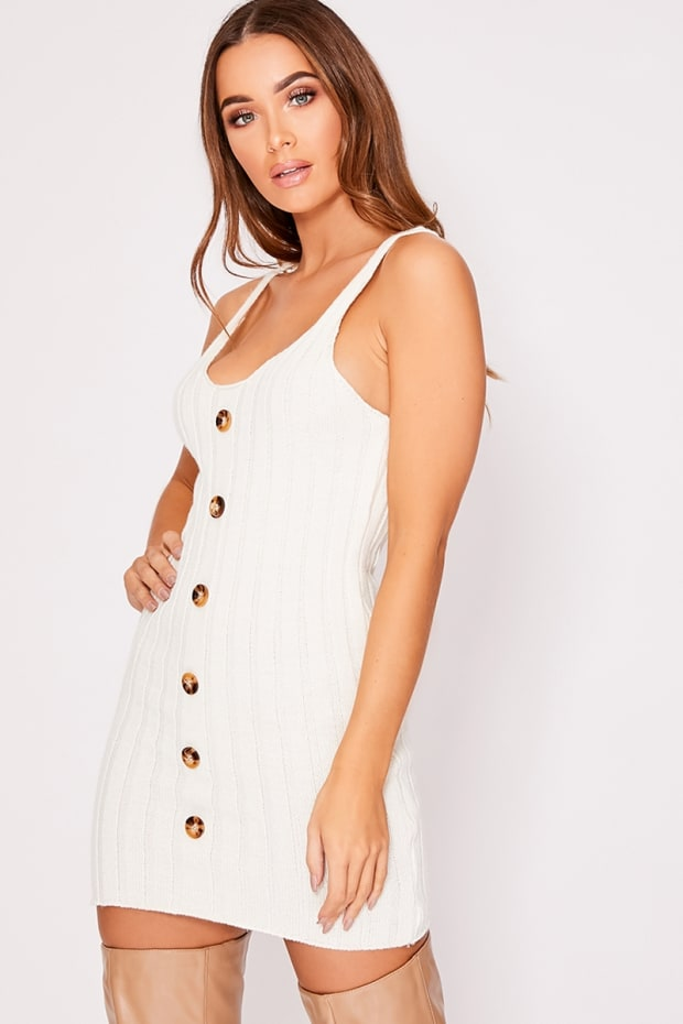 a2945587c09d Christianna Cream Knitted Rib Button Down Strappy Dress
