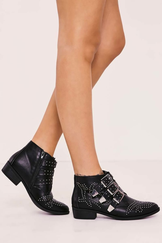 TAMIA BLACK FAUX LEATHER STUDDED BUCKLE ANKLE BOOTS