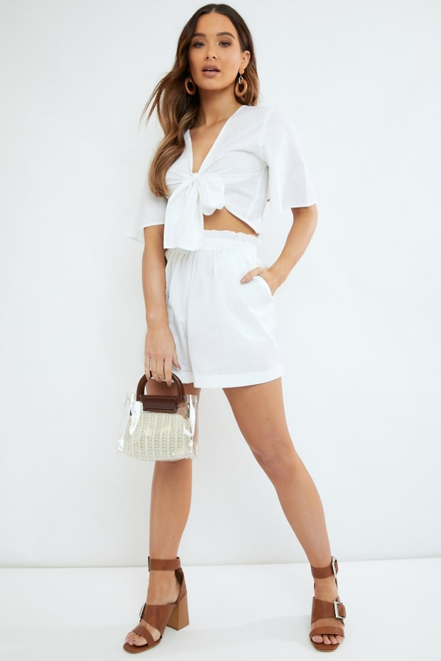 OLESJAH WHITE COTTON PAPERBAG WAIST SHORTS
