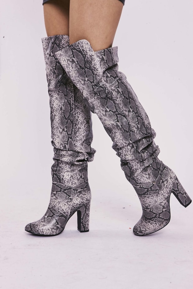SELLAH GREY SNAKE PRINT RUCHED OVER THE KNEE HEELED BOOTS
