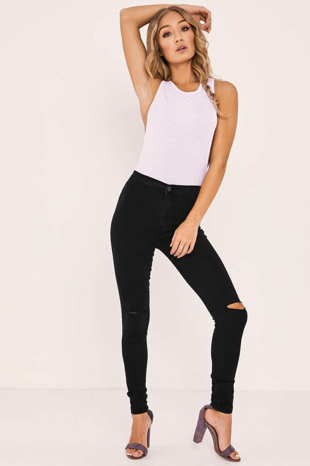 GABY BLACK HIGH WAISTED RIPPED KNEE SKINNY JEANS