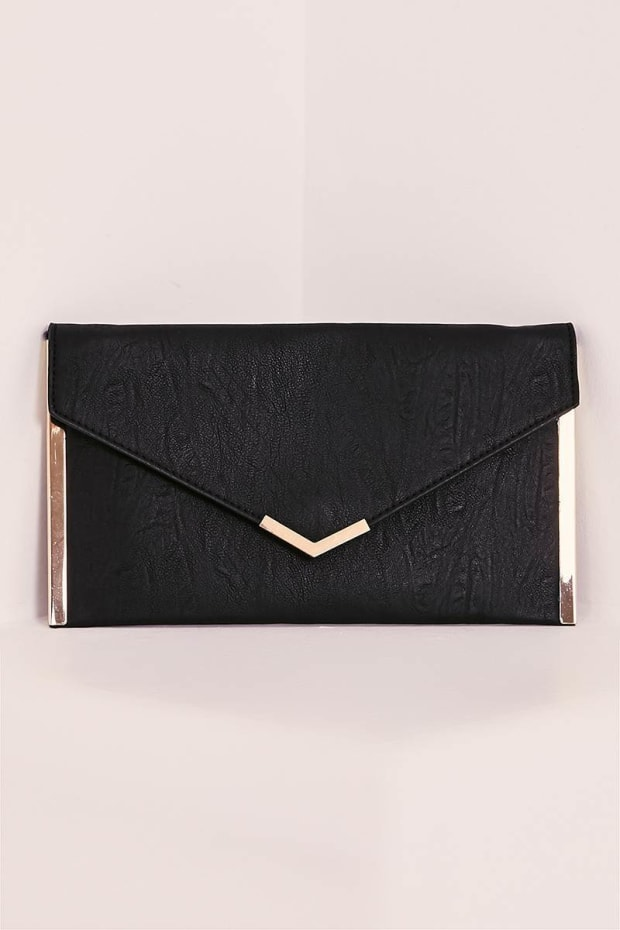 DION BLACK ENVELOPE CLUTCH BAG