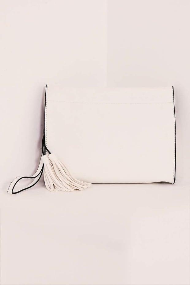 WHITE FAUX LEATHER BOXY CLUTCH BAG
