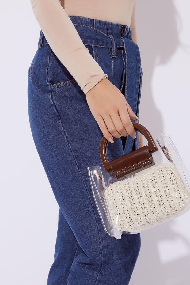 CLEAR CREAM STRAW BAG